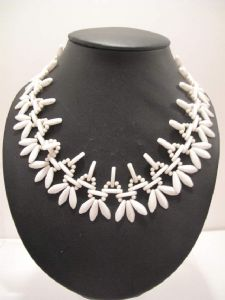 1940's White glass Indian style necklace